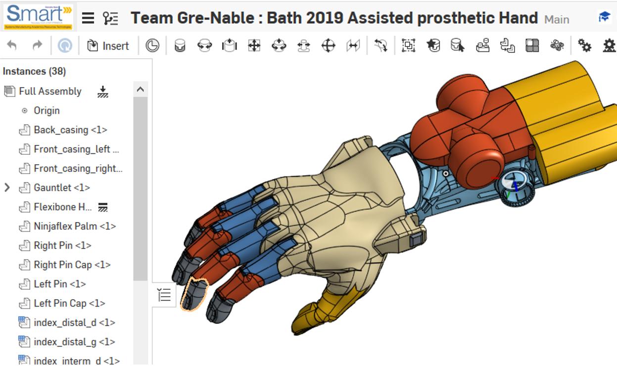 Prothèse de main réalisée sous onshape